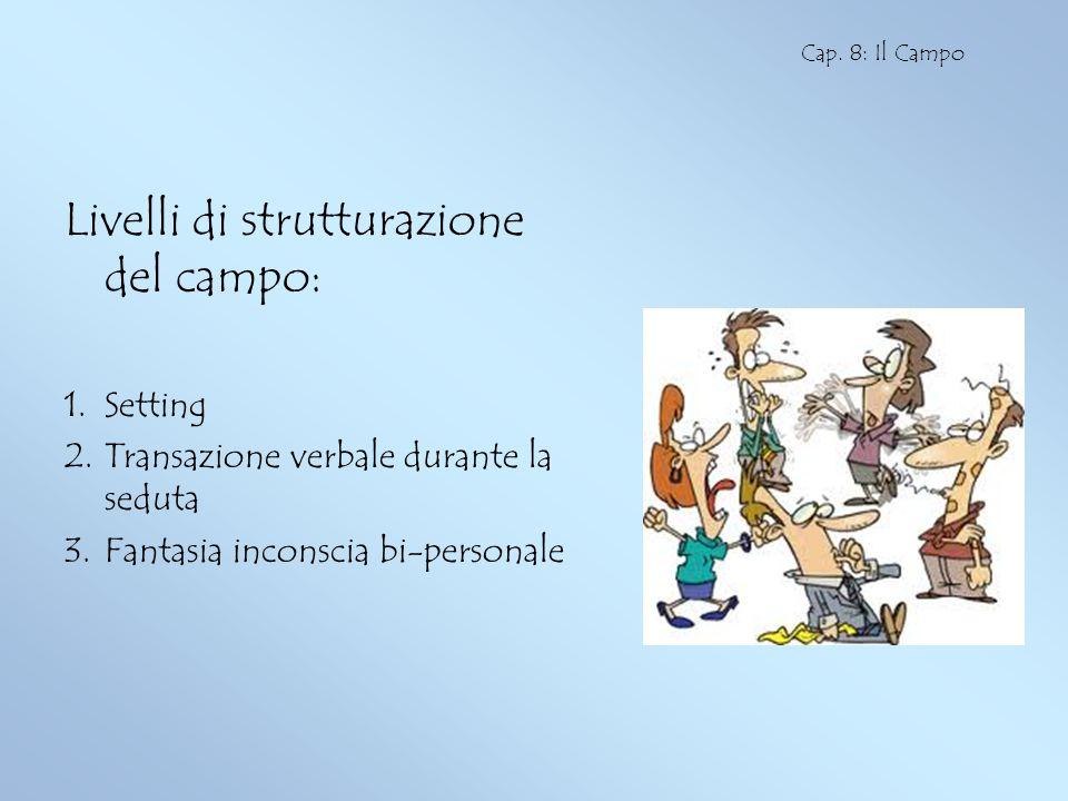 Livelli di strutturazione del campo: 1.Setting 2.Transazione verbale durante la seduta 3.Fantasia inconscia bi-personale Cap. 8: Il Campo