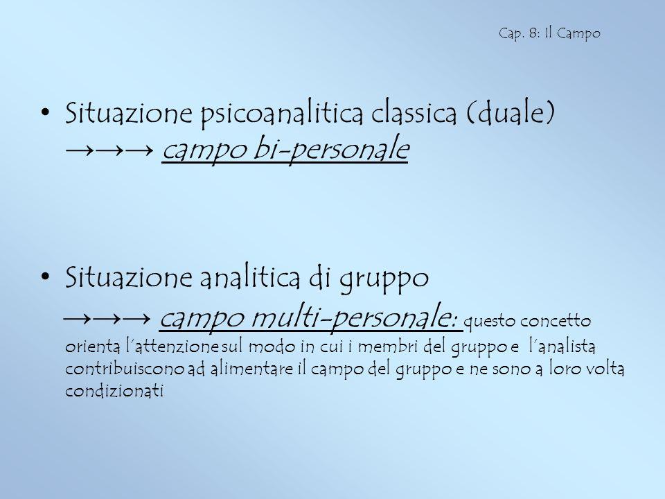 Situazione psicoanalitica classica (duale) campo bi-personale Situazione analitica di gruppo campo multi-personale: questo concetto orienta lattenzion