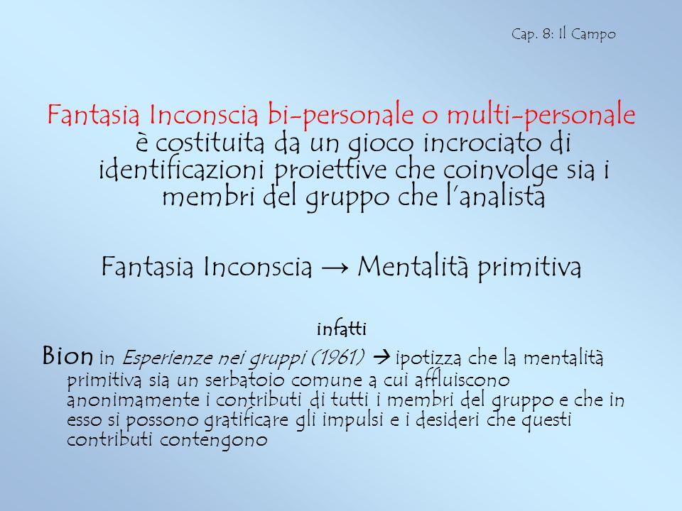 Fantasia Inconscia bi-personale o multi-personale è costituita da un gioco incrociato di identificazioni proiettive che coinvolge sia i membri del gru