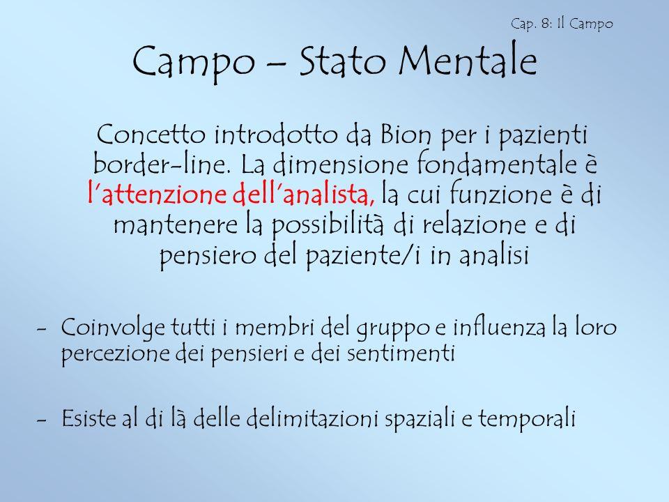 Campo – Stato Mentale Concetto introdotto da Bion per i pazienti border-line. La dimensione fondamentale è lattenzione dellanalista, la cui funzione è