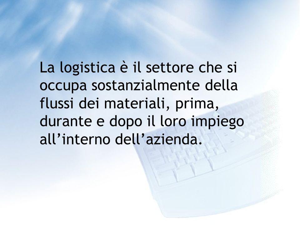 La logistica è il settore che si occupa sostanzialmente della flussi dei materiali, prima, durante e dopo il loro impiego allinterno dellazienda.