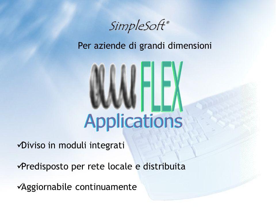 Per aziende di grandi dimensioni Aggiornabile continuamente Predisposto per rete locale e distribuita Diviso in moduli integrati SimpleSoft®