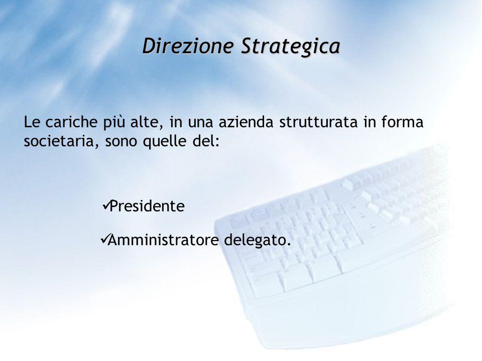 Direzione Strategica Le cariche più alte, in una azienda strutturata in forma societaria, sono quelle del: Presidente Amministratore delegato.