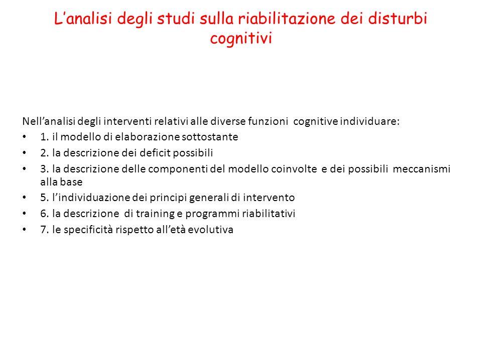 Lanalisi degli studi sulla riabilitazione dei disturbi cognitivi Nellanalisi degli interventi relativi alle diverse funzioni cognitive individuare: 1.