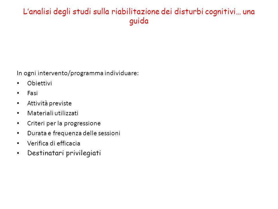 Lanalisi degli studi sulla riabilitazione dei disturbi cognitivi… una guida In ogni intervento/programma individuare: Obiettivi Fasi Attività previste