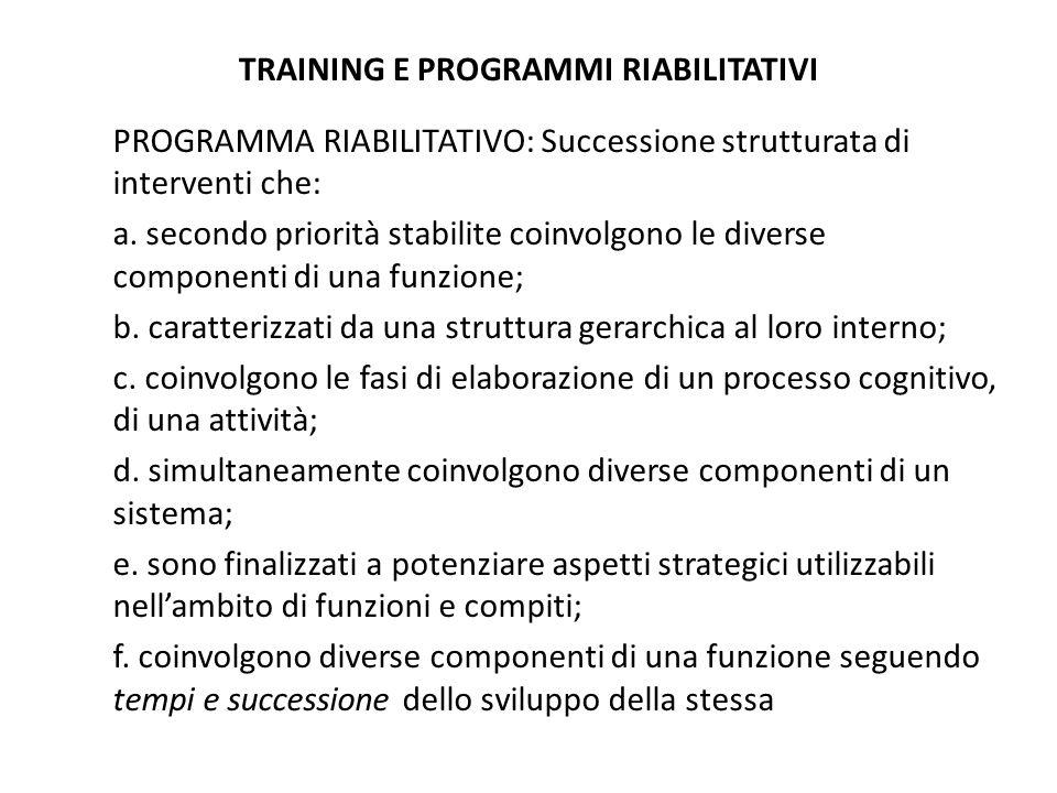 TRAINING E PROGRAMMI RIABILITATIVI PROGRAMMA RIABILITATIVO: Successione strutturata di interventi che: a. secondo priorità stabilite coinvolgono le di