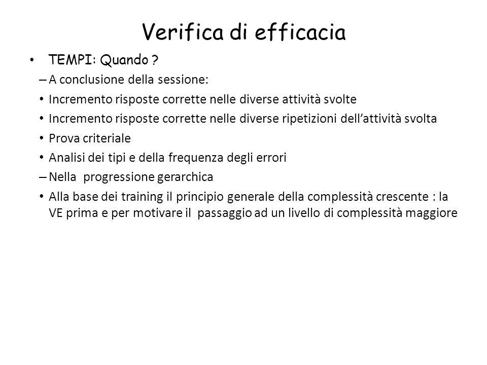 Verifica di efficacia TEMPI: Quando ? – A conclusione della sessione: Incremento risposte corrette nelle diverse attività svolte Incremento risposte c