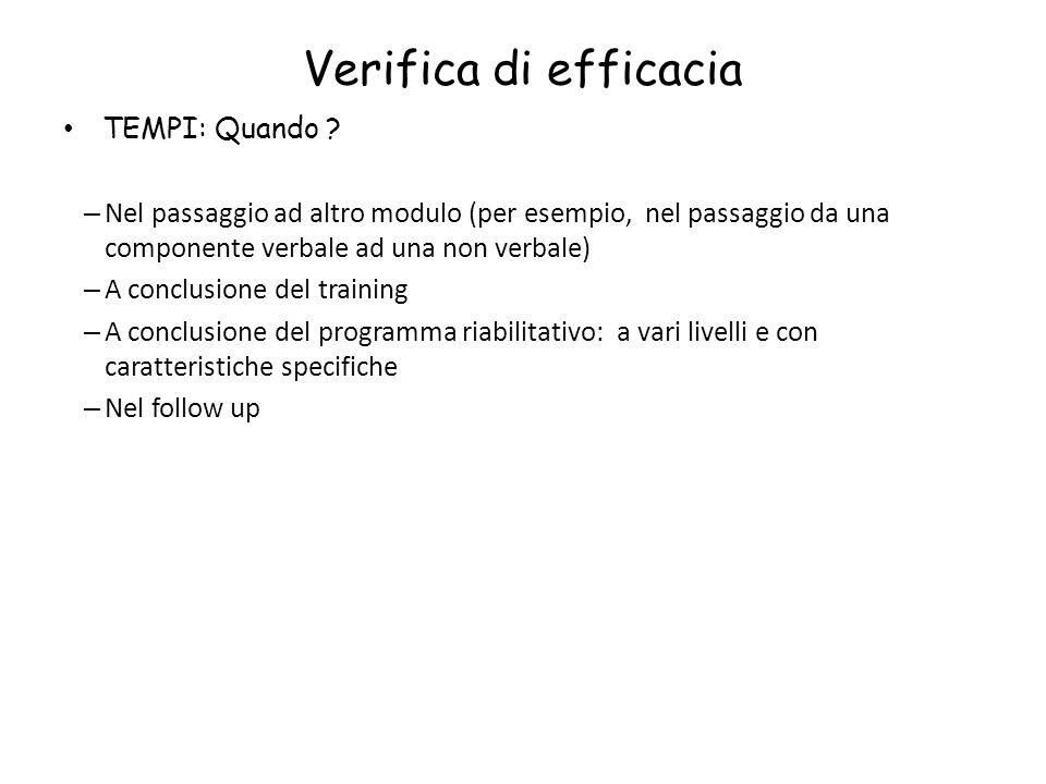 Verifica di efficacia TEMPI: Quando ? – Nel passaggio ad altro modulo (per esempio, nel passaggio da una componente verbale ad una non verbale) – A co
