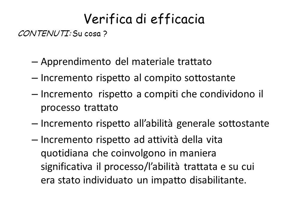 Verifica di efficacia CONTENUTI: Su cosa ? – Apprendimento del materiale trattato – Incremento rispetto al compito sottostante – Incremento rispetto a