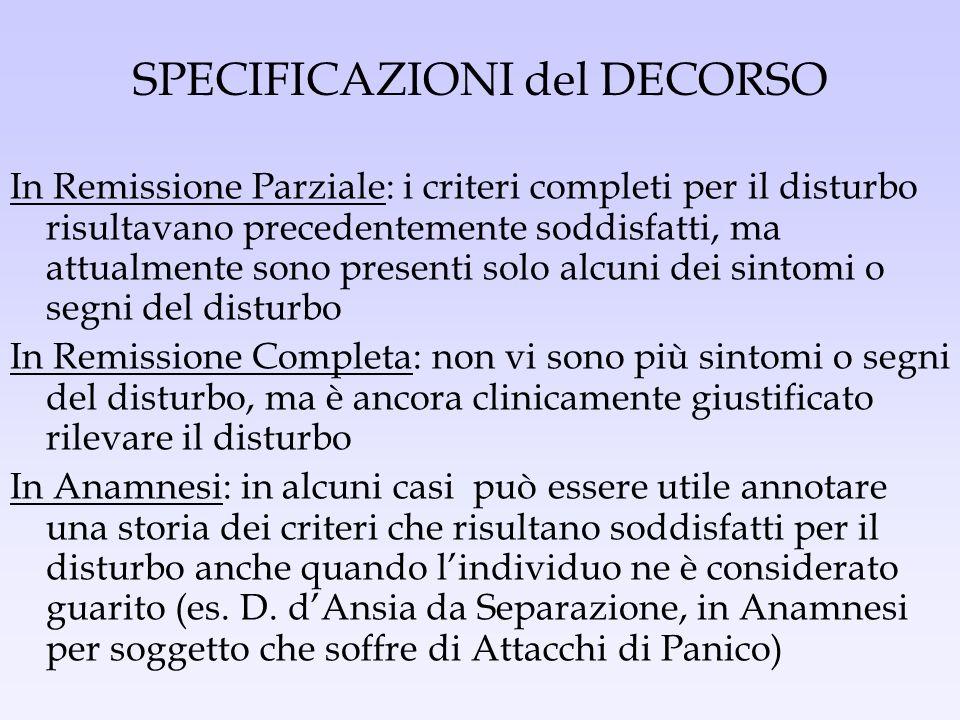SPECIFICAZIONI del DECORSO In Remissione Parziale: i criteri completi per il disturbo risultavano precedentemente soddisfatti, ma attualmente sono pre