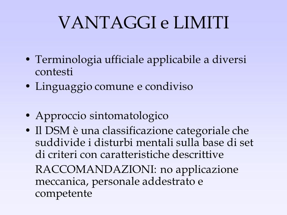 VANTAGGI e LIMITI Terminologia ufficiale applicabile a diversi contesti Linguaggio comune e condiviso Approccio sintomatologico Il DSM è una classific