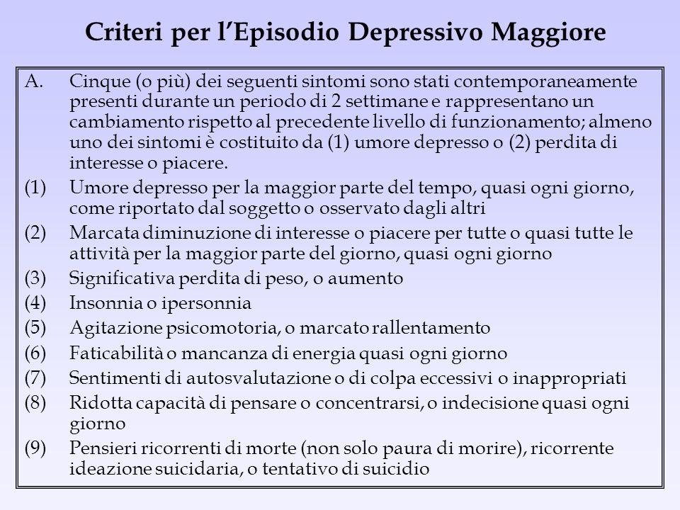 Criteri per lEpisodio Depressivo Maggiore A.Cinque (o più) dei seguenti sintomi sono stati contemporaneamente presenti durante un periodo di 2 settima