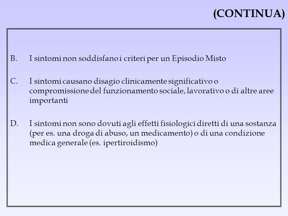 (CONTINUA) B. I sintomi non soddisfano i criteri per un Episodio Misto C. I sintomi causano disagio clinicamente significativo o compromissione del fu