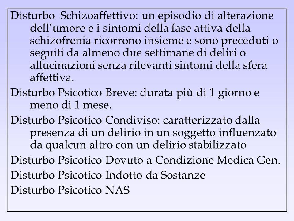 Disturbo Schizoaffettivo: un episodio di alterazione dellumore e i sintomi della fase attiva della schizofrenia ricorrono insieme e sono preceduti o s