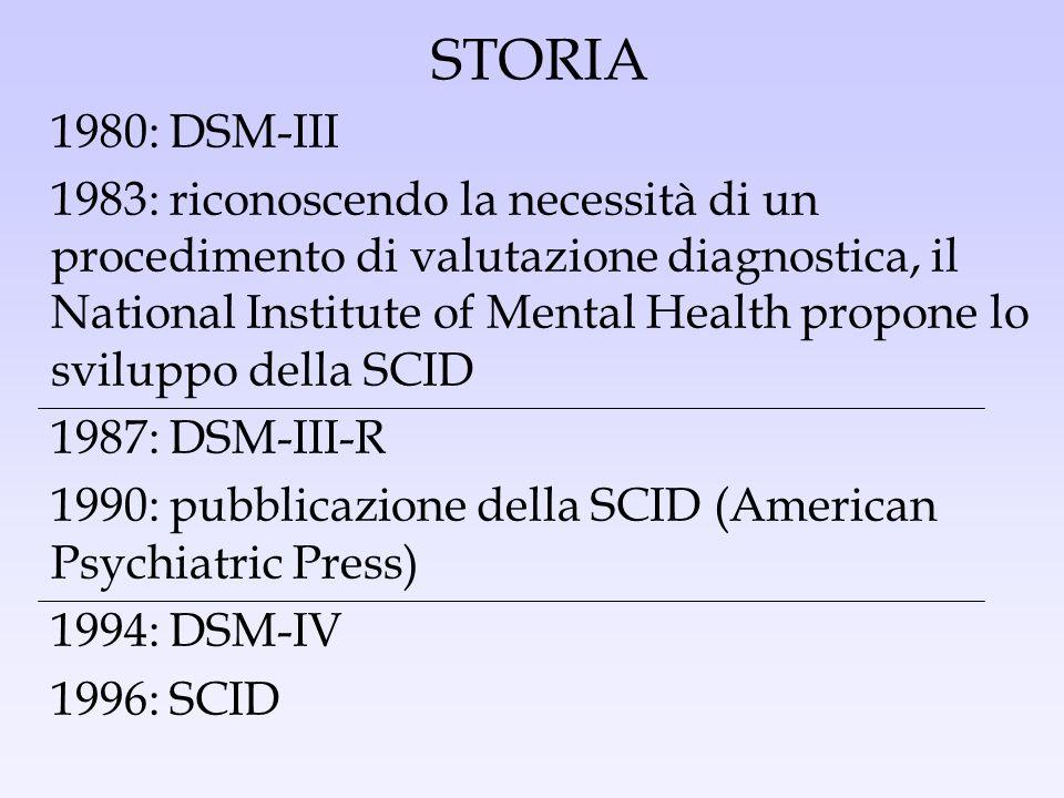 STORIA 1980: DSM-III 1983: riconoscendo la necessità di un procedimento di valutazione diagnostica, il National Institute of Mental Health propone lo