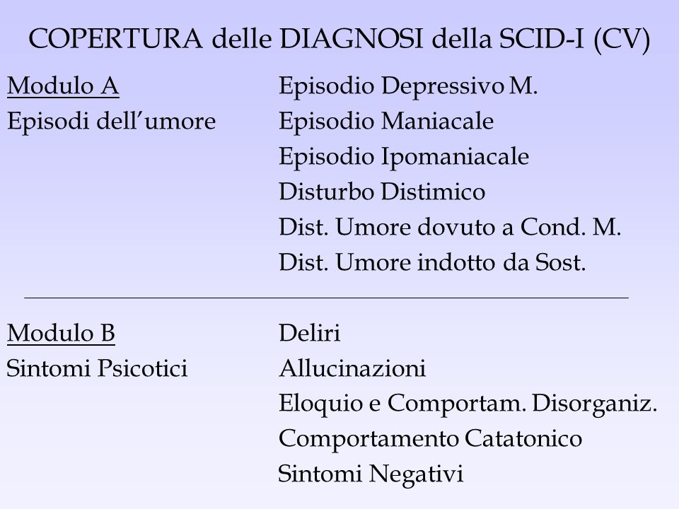 COPERTURA delle DIAGNOSI della SCID-I (CV) Modulo AEpisodio Depressivo M. Episodi dellumoreEpisodio Maniacale Episodio Ipomaniacale Disturbo Distimico