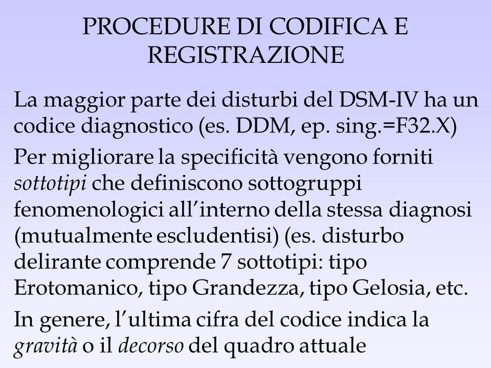 PROCEDURE DI CODIFICA E REGISTRAZIONE La maggior parte dei disturbi del DSM-IV ha un codice diagnostico (es. DDM, ep. sing.=F32.X) Per migliorare la s