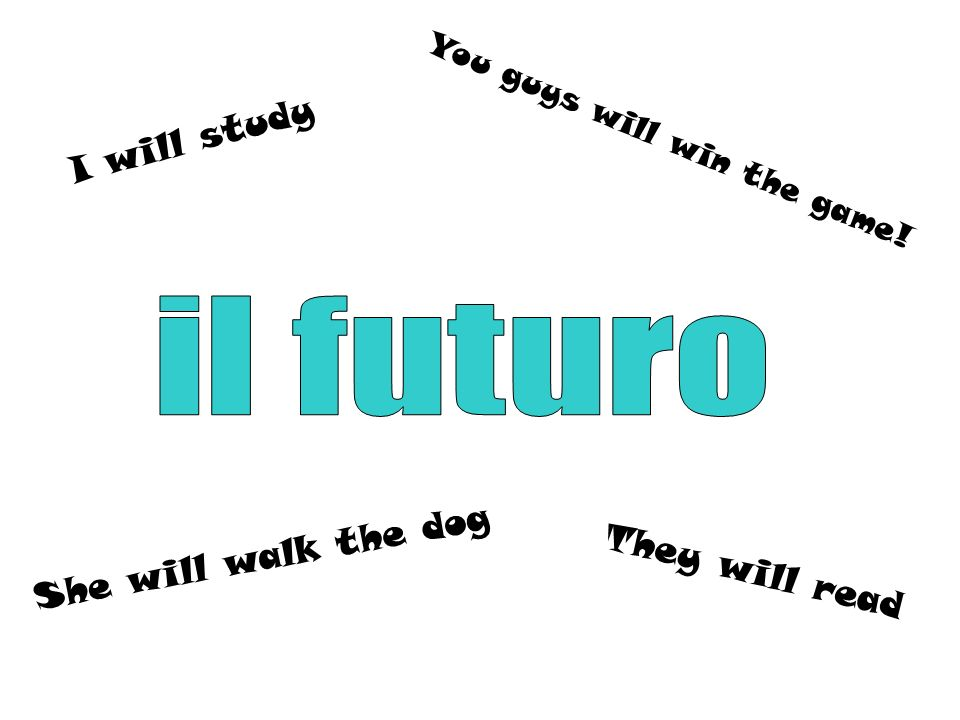 The future tense describes: What WILL happenSomething that is going to happen Something that has not yet happened NOWILL In Italian, there is NO word for WILL.