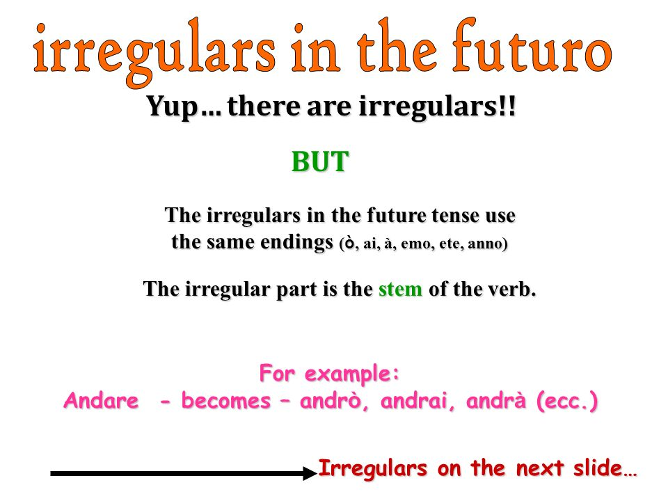 Yup… there are irregulars!! BUT For example: Andare - becomes – andr ò, andrai, andr à (ecc.) The irregulars in the future tense use the same endings