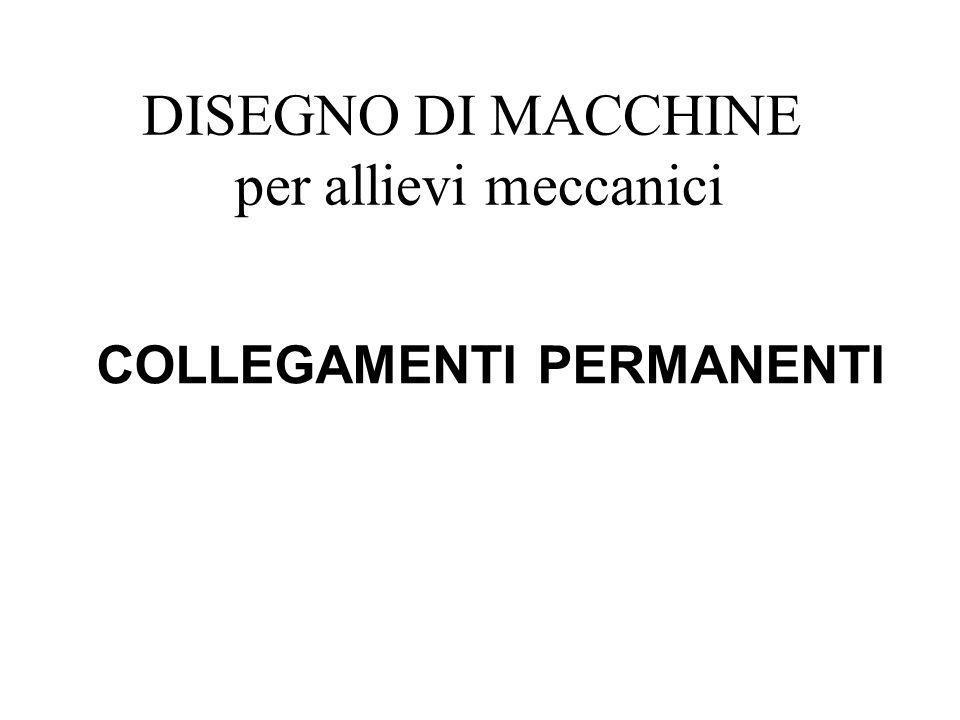 DISEGNO DI MACCHINE per allievi meccanici COLLEGAMENTI PERMANENTI