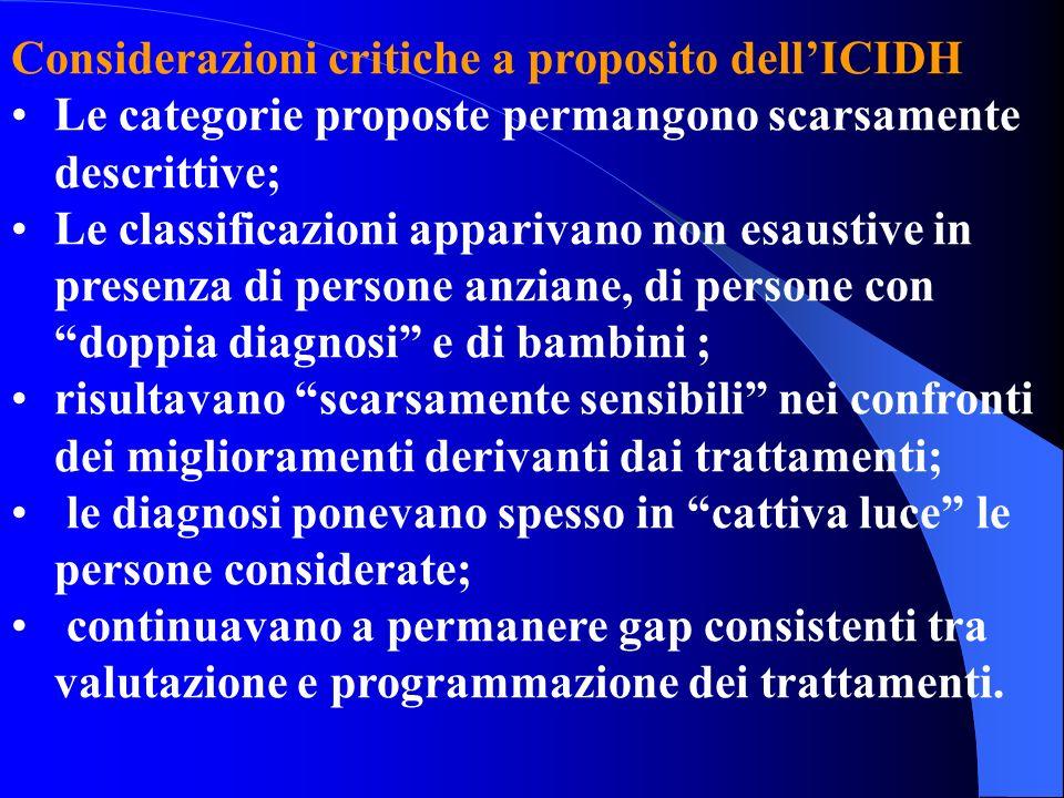 Considerazioni critiche a proposito dellICIDH Le categorie proposte permangono scarsamente descrittive; Le classificazioni apparivano non esaustive in