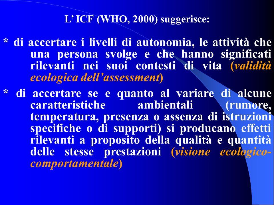 L ICF (WHO, 2000) suggerisce: * di accertare i livelli di autonomia, le attività che una persona svolge e che hanno significati rilevanti nei suoi con