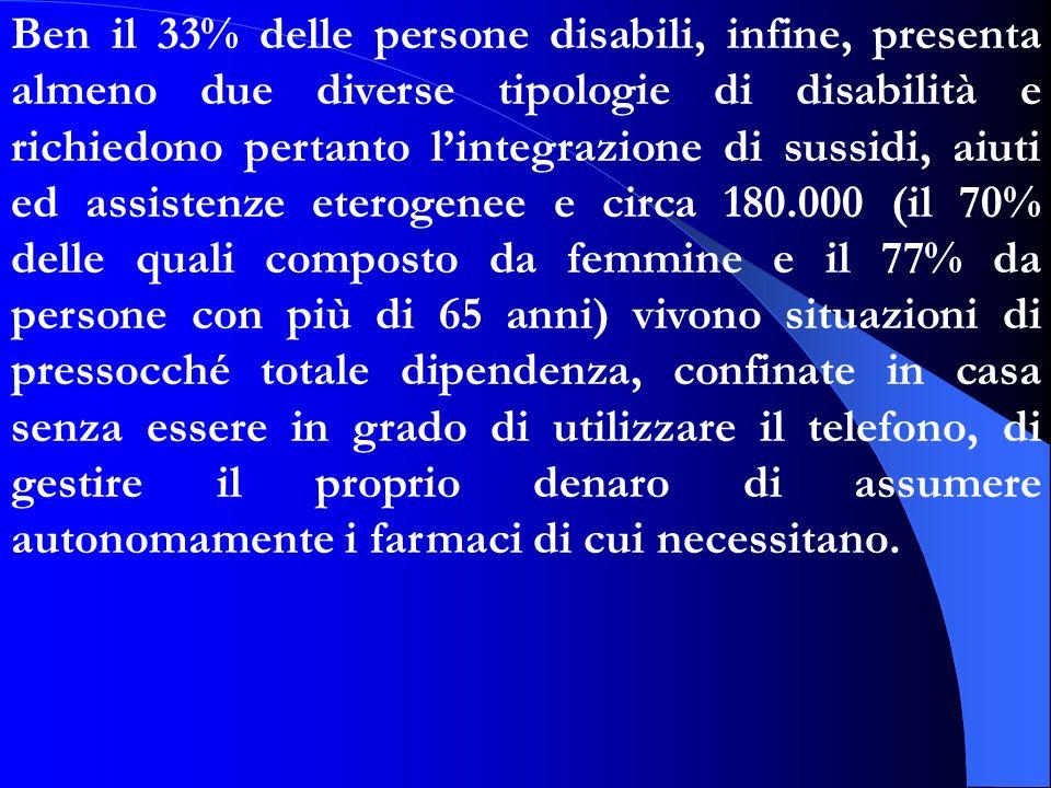 Ben il 33% delle persone disabili, infine, presenta almeno due diverse tipologie di disabilità e richiedono pertanto lintegrazione di sussidi, aiuti e