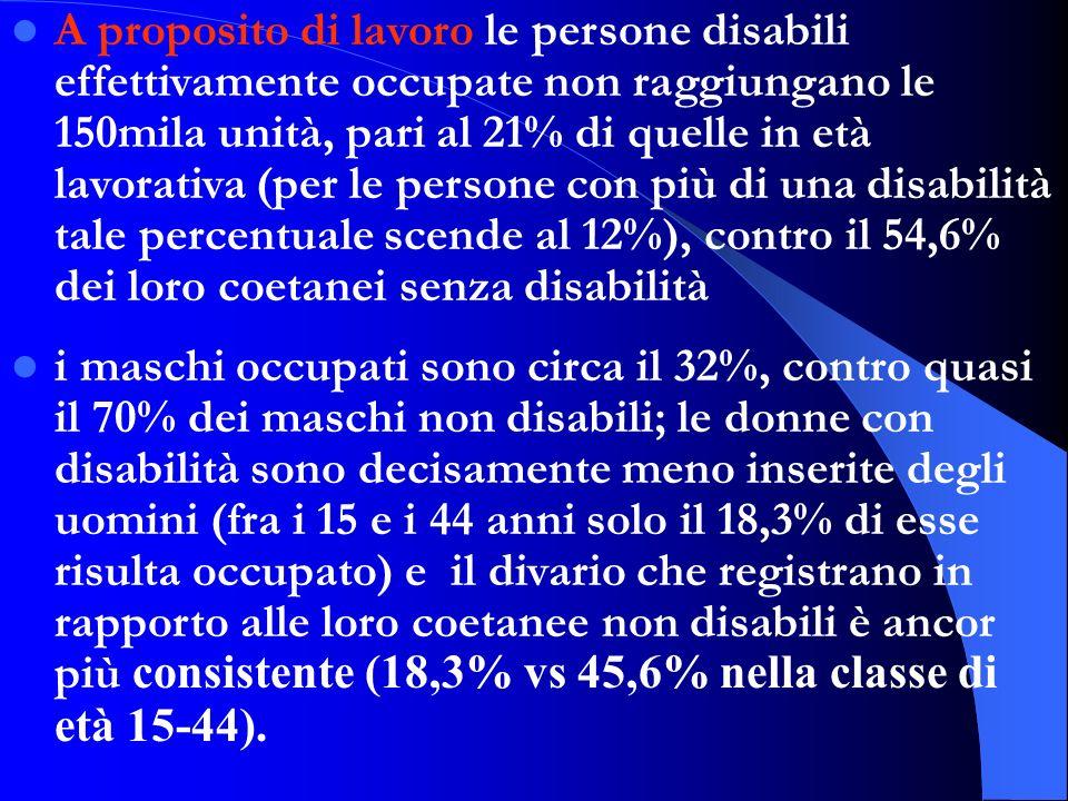 A proposito di lavoro le persone disabili effettivamente occupate non raggiungano le 150mila unità, pari al 21% di quelle in età lavorativa (per le pe