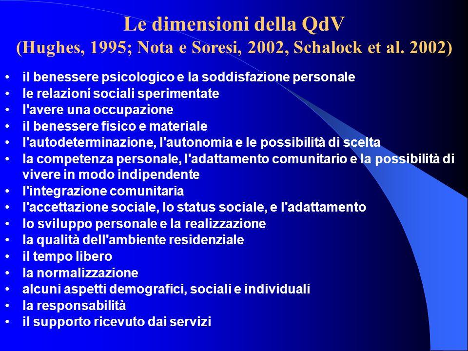 Le dimensioni della QdV (Hughes, 1995; Nota e Soresi, 2002, Schalock et al. 2002) il benessere psicologico e la soddisfazione personale le relazioni s