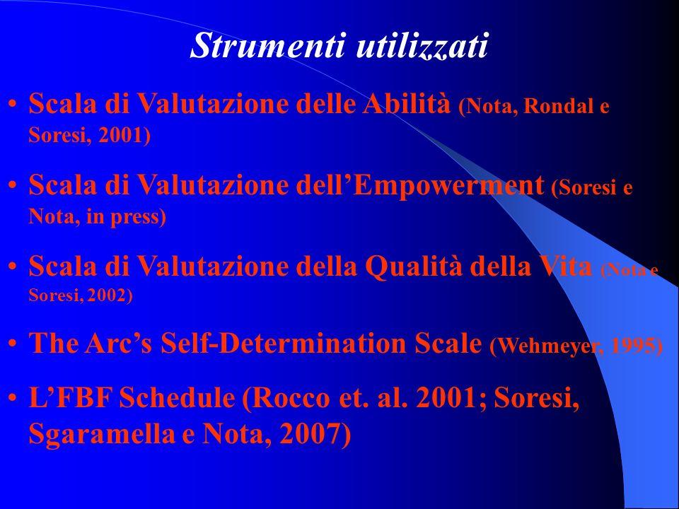 Strumenti utilizzati Scala di Valutazione delle Abilità (Nota, Rondal e Soresi, 2001) Scala di Valutazione dellEmpowerment (Soresi e Nota, in press) S