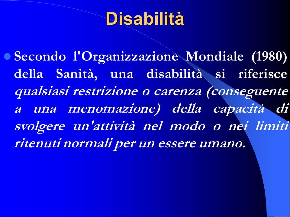 Disabilità Secondo l'Organizzazione Mondiale (1980) della Sanità, una disabilità si riferisce qualsiasi restrizione o carenza (conseguente a una menom