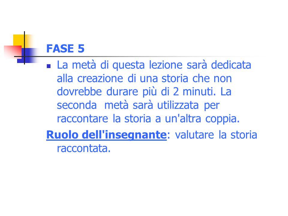 FASE 5 La metà di questa lezione sarà dedicata alla creazione di una storia che non dovrebbe durare più di 2 minuti.