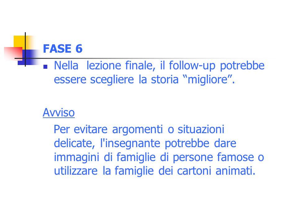 FASE 6 Nella lezione finale, il follow-up potrebbe essere scegliere la storia migliore.