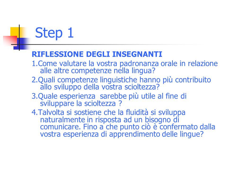 Step 1 RIFLESSIONE DEGLI INSEGNANTI 1.Come valutare la vostra padronanza orale in relazione alle altre competenze nella lingua.