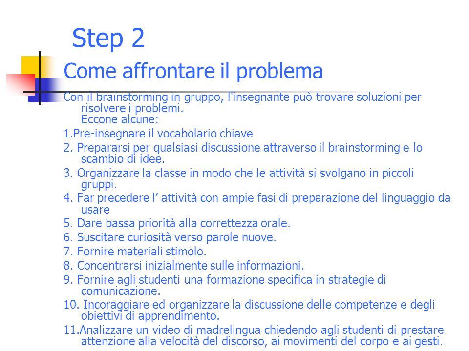 Step 2 Come affrontare il problema Con il brainstorming in gruppo, l insegnante può trovare soluzioni per risolvere i problemi.