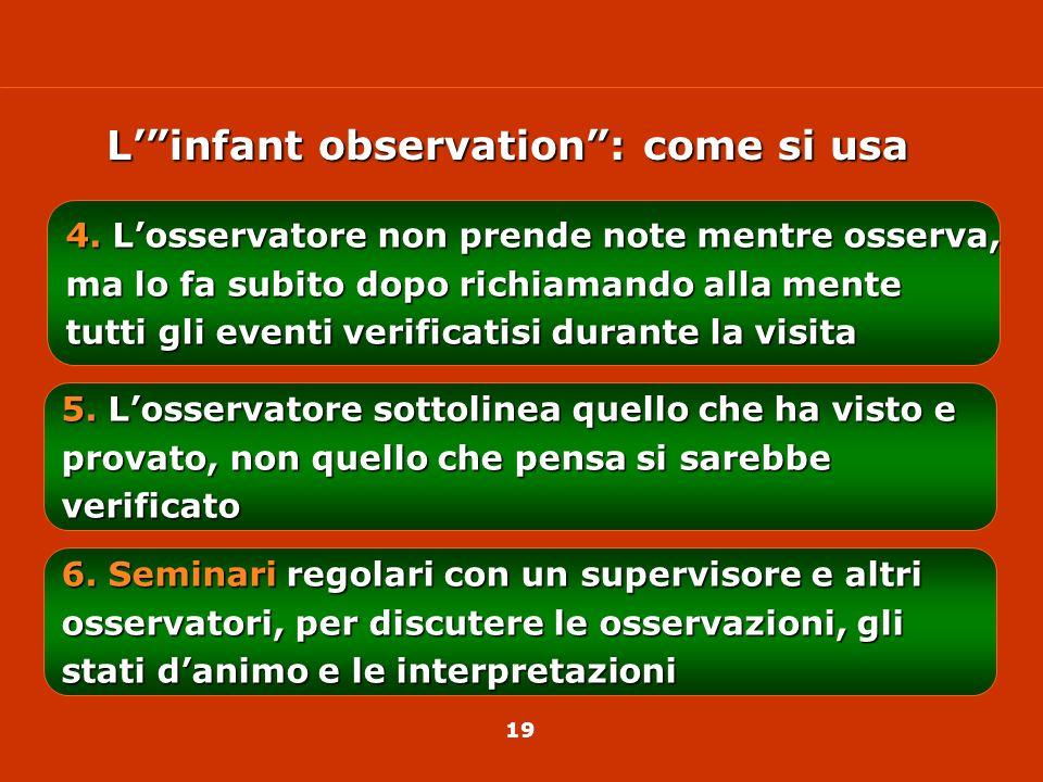 18 1.Osservazione naturalistica del bambino a casa 2.