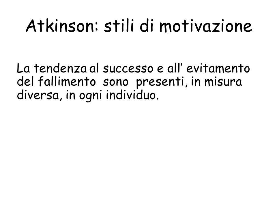 Atkinson: stili di motivazione La tendenza al successo e all evitamento del fallimento sono presenti, in misura diversa, in ogni individuo.