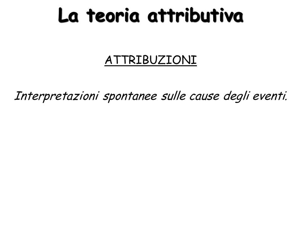 La teoria attributiva ATTRIBUZIONI Interpretazioni spontanee sulle cause degli eventi.