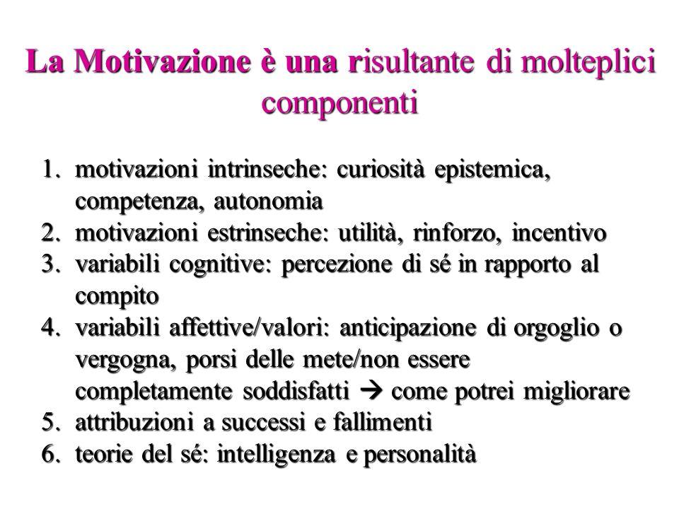 La Motivazione è una risultante di molteplici componenti 1.motivazioni intrinseche: curiosità epistemica, competenza, autonomia 2.motivazioni estrinse