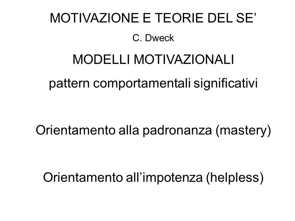 MOTIVAZIONE E TEORIE DEL SE C. Dweck MODELLI MOTIVAZIONALI pattern comportamentali significativi Orientamento alla padronanza (mastery) Orientamento a