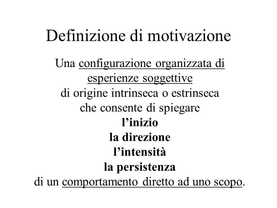 Definizione di motivazione Una configurazione organizzata di esperienze soggettive di origine intrinseca o estrinseca che consente di spiegare linizio