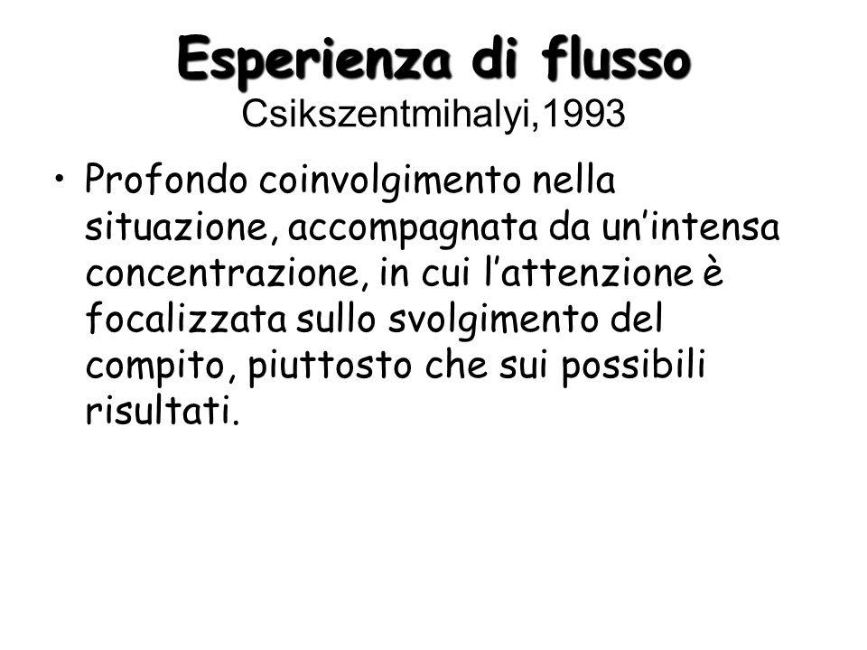 Esperienza di flusso Esperienza di flusso Csikszentmihalyi,1993 Profondo coinvolgimento nella situazione, accompagnata da unintensa concentrazione, in cui lattenzione è focalizzata sullo svolgimento del compito, piuttosto che sui possibili risultati.