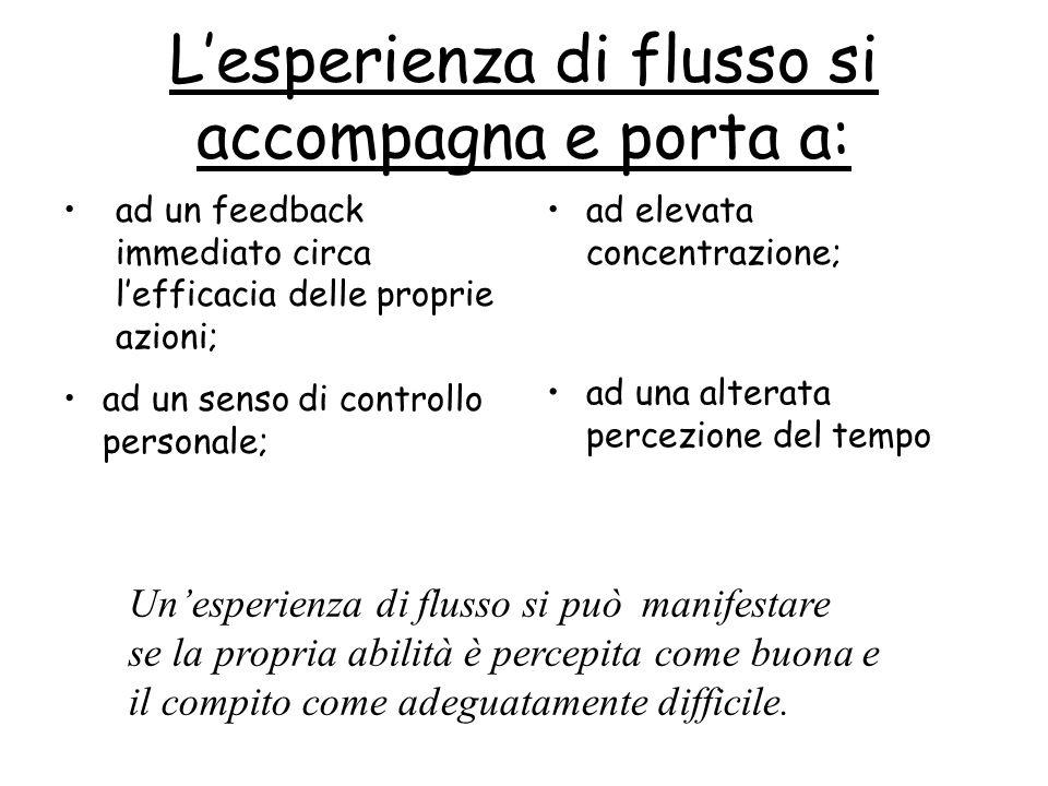 Lesperienza di flusso si accompagna e porta a: ad un feedback immediato circa lefficacia delle proprie azioni; ad elevata concentrazione; ad un senso