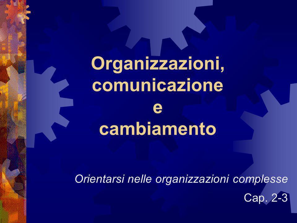 Organizzazioni, comunicazione e cambiamento Orientarsi nelle organizzazioni complesse Cap. 2-3