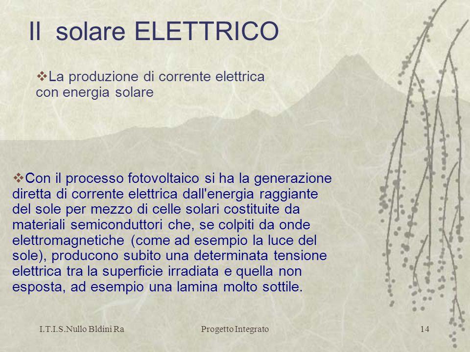 I.T.I.S.Nullo Bldini RaProgetto Integrato14 Con il processo fotovoltaico si ha la generazione diretta di corrente elettrica dall'energia raggiante del