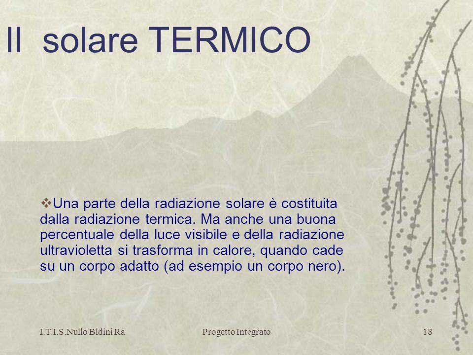 I.T.I.S.Nullo Bldini RaProgetto Integrato18 Una parte della radiazione solare è costituita dalla radiazione termica. Ma anche una buona percentuale de