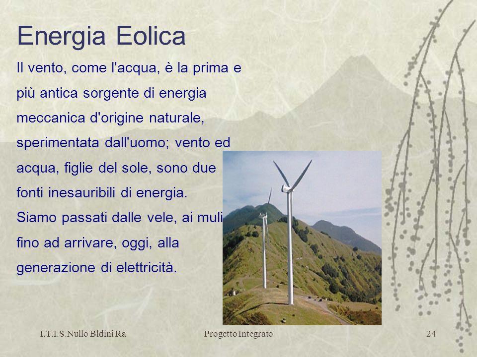 I.T.I.S.Nullo Bldini RaProgetto Integrato24 Energia Eolica Il vento, come l'acqua, è la prima e più antica sorgente di energia meccanica d'origine nat