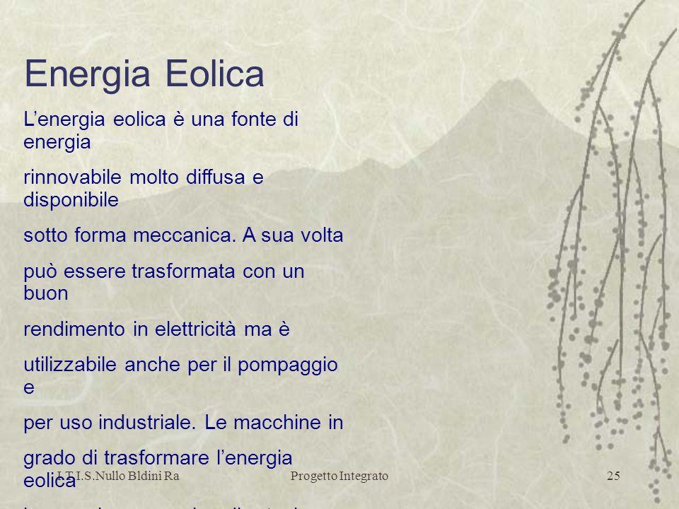 I.T.I.S.Nullo Bldini RaProgetto Integrato25 Energia Eolica Lenergia eolica è una fonte di energia rinnovabile molto diffusa e disponibile sotto forma