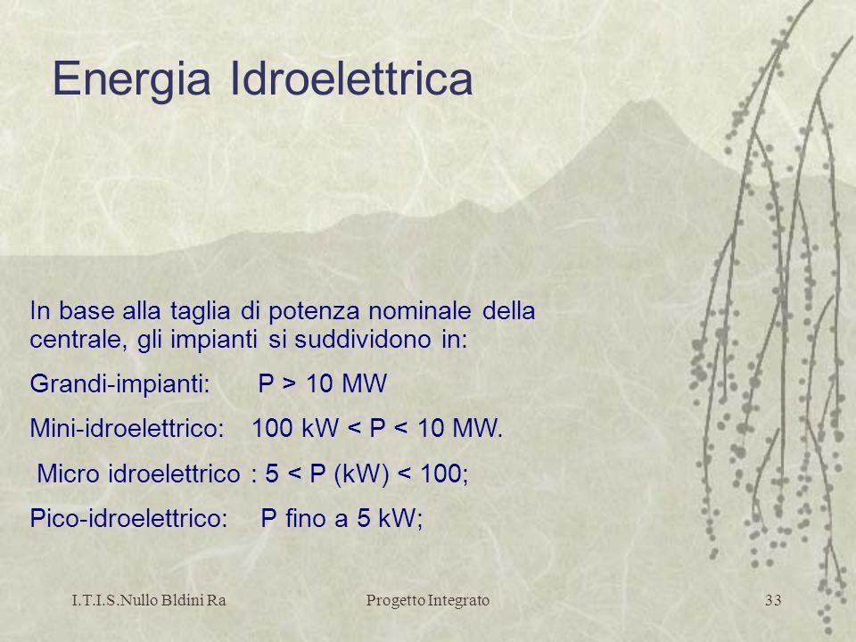 I.T.I.S.Nullo Bldini RaProgetto Integrato33 Energia Idroelettrica In base alla taglia di potenza nominale della centrale, gli impianti si suddividono