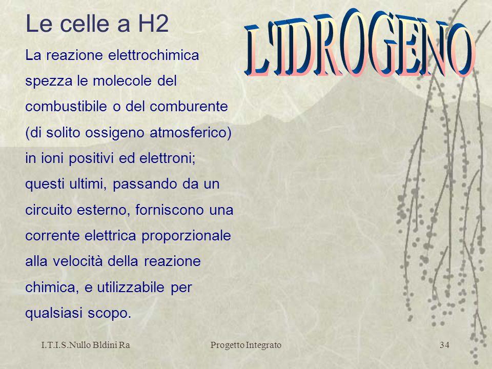 I.T.I.S.Nullo Bldini RaProgetto Integrato34 Le celle a H2 La reazione elettrochimica spezza le molecole del combustibile o del comburente (di solito o